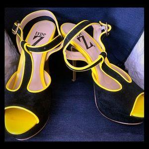 Type Z Black & Yellow suede heels